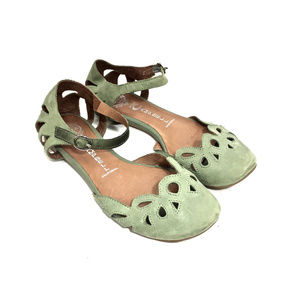 Jeffrey Campbell Green Leather Mary Jane Flats